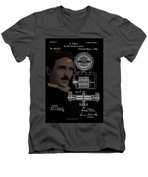 Tesla Motor Patent Drawing Men's V-Neck T-Shirt
