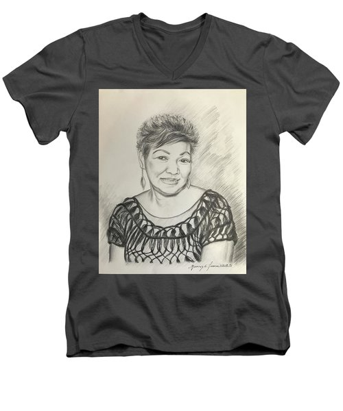 Men's V-Neck T-Shirt featuring the drawing Tessie Guinto  by Rosencruz  Sumera