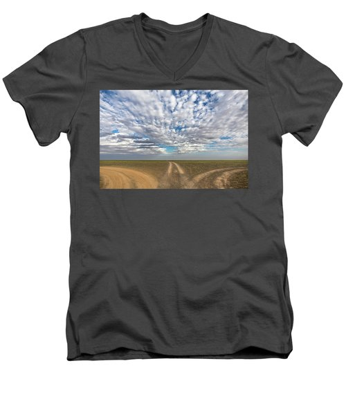 Men's V-Neck T-Shirt featuring the photograph Quo Vadis, Bayanzag, 2016 by Hitendra SINKAR
