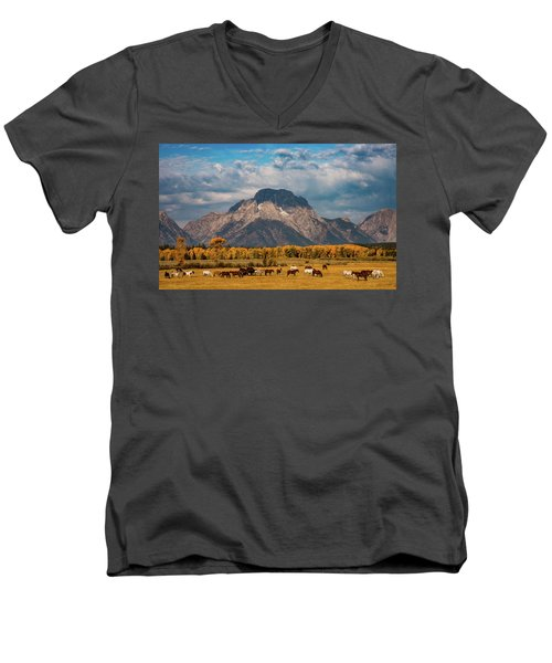 Teton Horse Ranch Men's V-Neck T-Shirt by Darren White