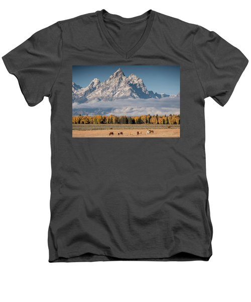 Men's V-Neck T-Shirt featuring the photograph Teton Horses by Wesley Aston