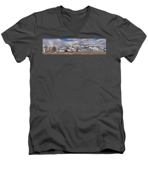 Men's V-Neck T-Shirt featuring the photograph Teton Mormon Homestead Panorama by Adam Jewell