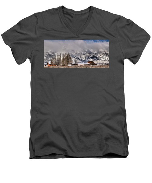Men's V-Neck T-Shirt featuring the photograph Teton Mormon Row Panorama by Adam Jewell