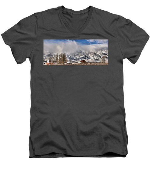 Men's V-Neck T-Shirt featuring the photograph Teton Mountains Over Mormon Row by Adam Jewell