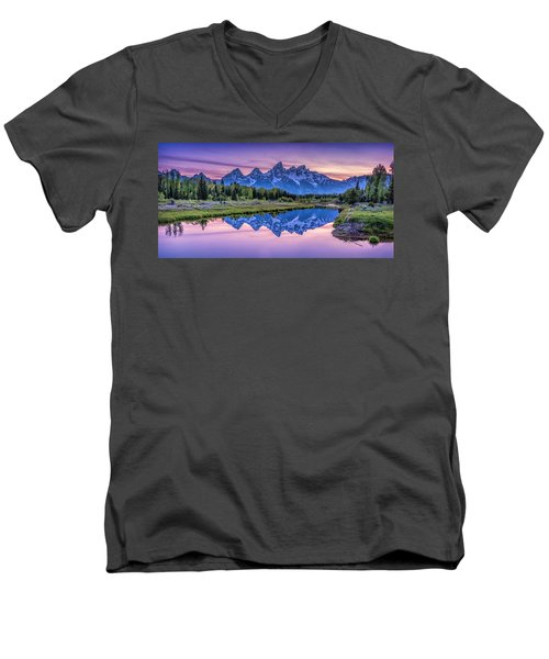Sunset Teton Reflection Men's V-Neck T-Shirt