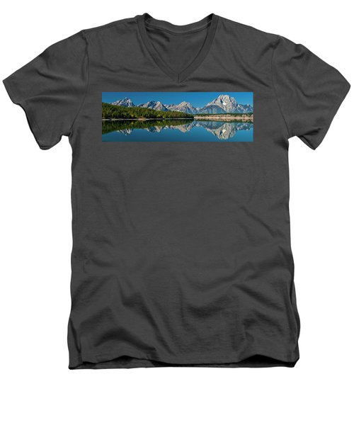 Men's V-Neck T-Shirt featuring the photograph Teton Reflections by Gary Lengyel