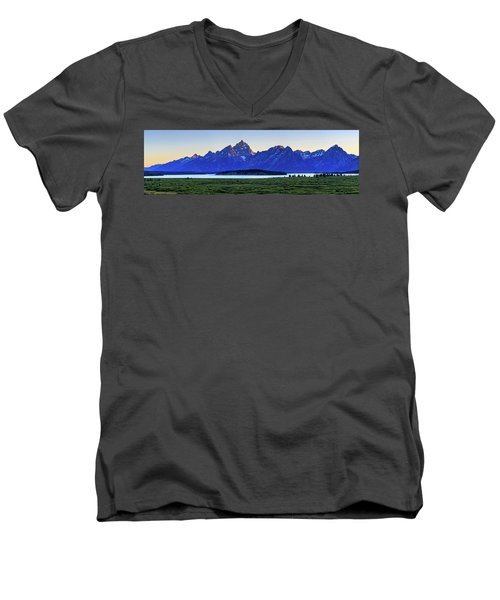 Men's V-Neck T-Shirt featuring the photograph Teton Sunset by David Chandler