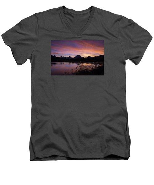 Men's V-Neck T-Shirt featuring the photograph Teton Sunset by Gary Lengyel