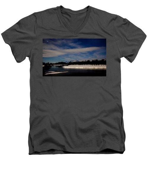 Tetons At Moonlight Men's V-Neck T-Shirt