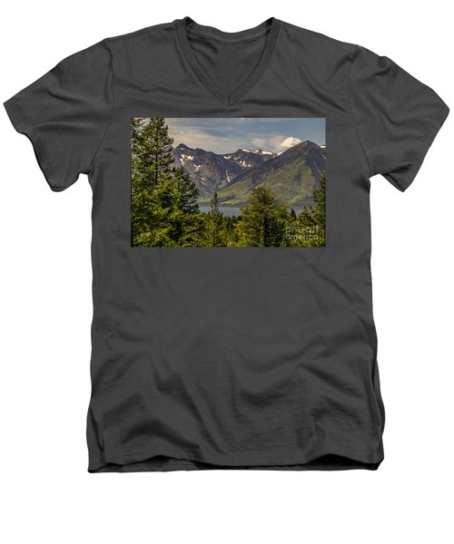 Men's V-Neck T-Shirt featuring the photograph Tetons Landscape by Sue Smith