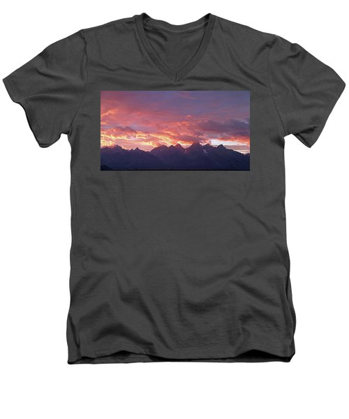 Tetons Sunset Men's V-Neck T-Shirt