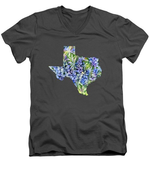 Texas Blue Texas Map On White Men's V-Neck T-Shirt