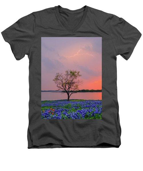 Texas Bluebonnets And Lightning Men's V-Neck T-Shirt
