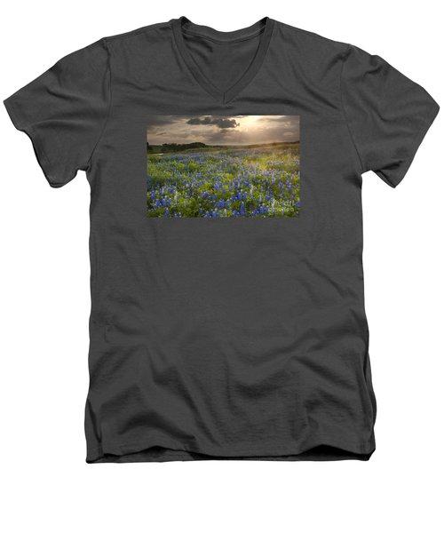 Texas Bluebonnets At Sunrise Men's V-Neck T-Shirt by Keith Kapple