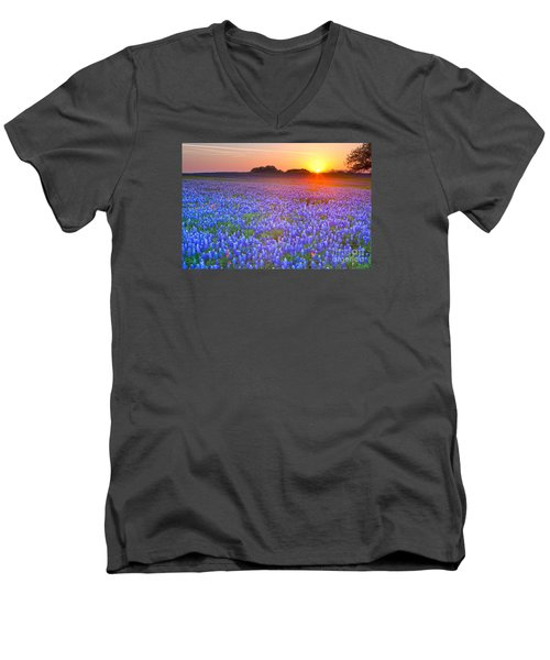 Men's V-Neck T-Shirt featuring the photograph Texas Bluebonnets by Keith Kapple