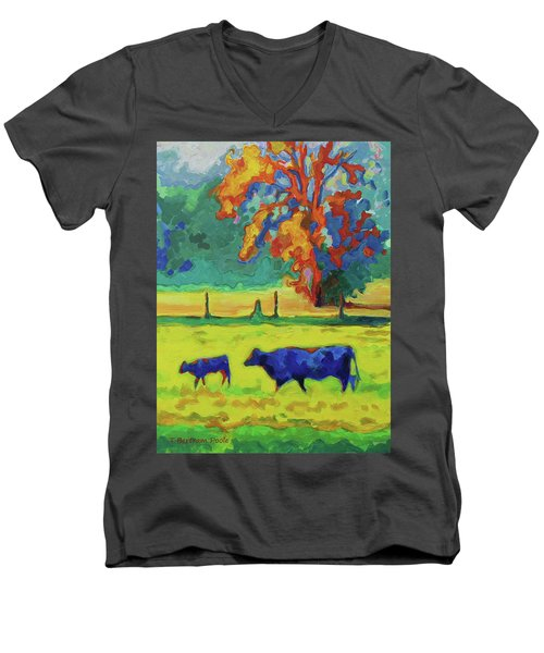Texas Cow And Calf At Sunset Print Bertram Poole Men's V-Neck T-Shirt by Thomas Bertram POOLE