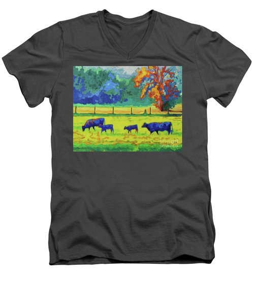 Men's V-Neck T-Shirt featuring the painting Texas Cows And Calves At Sunset Painting T Bertram Poole by Thomas Bertram POOLE