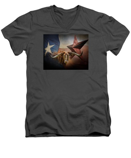 Texas Men's V-Neck T-Shirt by David and Carol Kelly