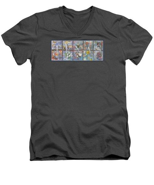 Texas Flowers In Blue Men's V-Neck T-Shirt