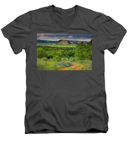 Texas Hill Country Ranch Road Men's V-Neck T-Shirt by Darryl Dalton