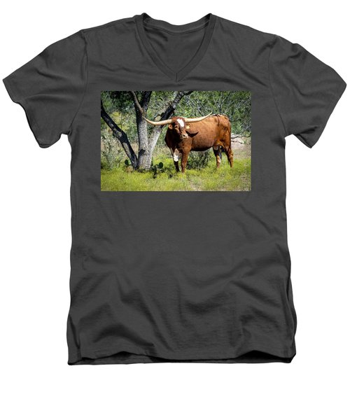 Men's V-Neck T-Shirt featuring the photograph Texas Longhorn Steer by David Morefield
