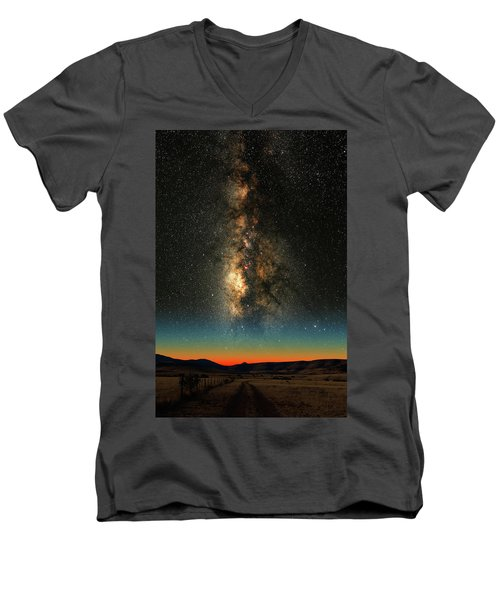 Men's V-Neck T-Shirt featuring the photograph Texas Milky Way by Larry Landolfi