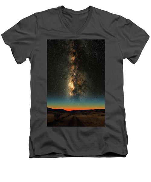 Texas Milky Way Men's V-Neck T-Shirt by Larry Landolfi