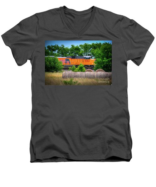 Texas Train Men's V-Neck T-Shirt by Kelly Wade