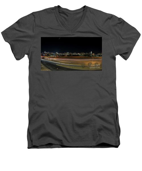 Texas University Tower And Downtown Austin Skyline From Ih35 Men's V-Neck T-Shirt