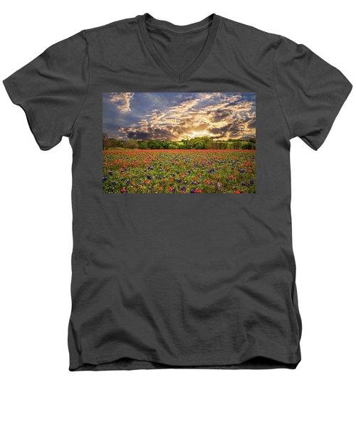 Texas Wildflowers Under Sunset Skies Men's V-Neck T-Shirt by Lynn Bauer