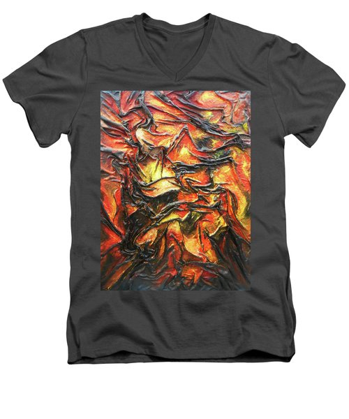 Texture Of Fire Men's V-Neck T-Shirt by Angela Stout