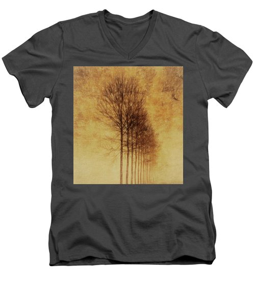 Men's V-Neck T-Shirt featuring the mixed media Textured Eerie Trees by Dan Sproul