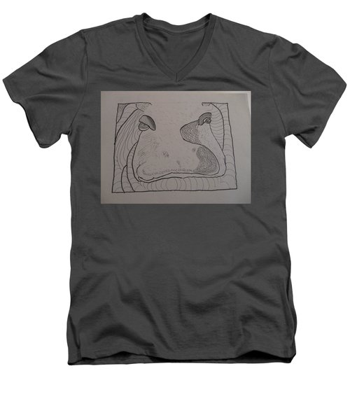 Textured Hippo Men's V-Neck T-Shirt by AJ Brown