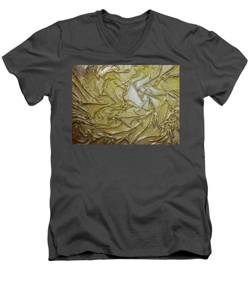 Textured Light Men's V-Neck T-Shirt by Angela Stout