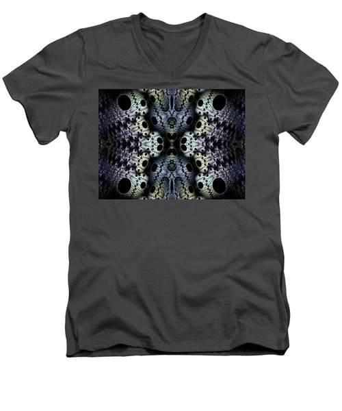 Men's V-Neck T-Shirt featuring the digital art Texturized  by Lea Wiggins