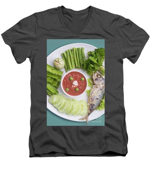 Men's V-Neck T-Shirt featuring the photograph Thai Chili Paste by Atiketta Sangasaeng