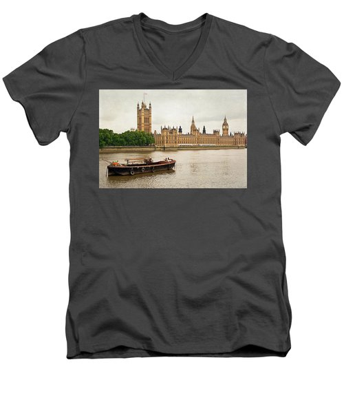 Thames Men's V-Neck T-Shirt by Keith Armstrong