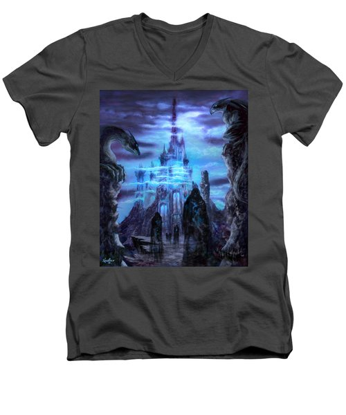 Men's V-Neck T-Shirt featuring the mixed media Thangorodrim by Curtiss Shaffer