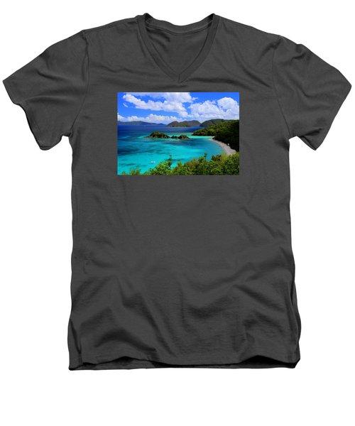 Thank You St. John Usvi Men's V-Neck T-Shirt by Fiona Kennard