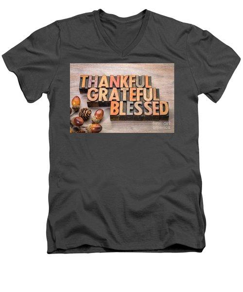 thankful, grateful, blessed - Thanksgiving theme Men's V-Neck T-Shirt