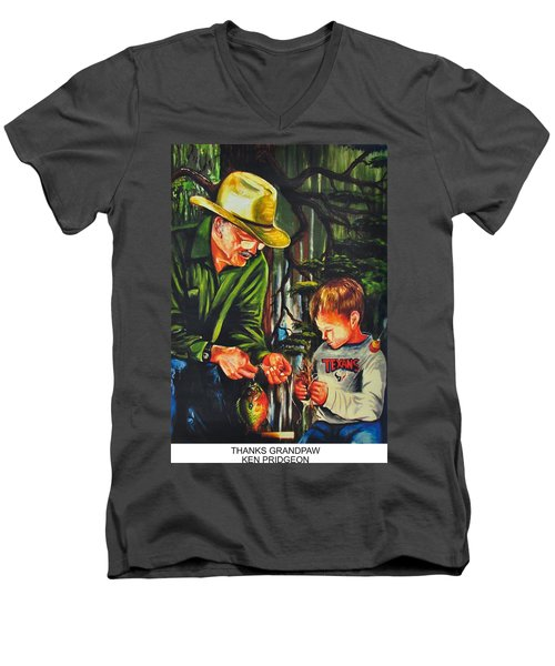Thanks Grandpaw Men's V-Neck T-Shirt by Ken Pridgeon