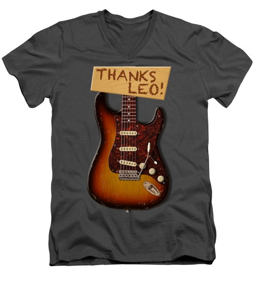 Thanks Leo Strat Shirt Men's V-Neck T-Shirt by WB Johnston