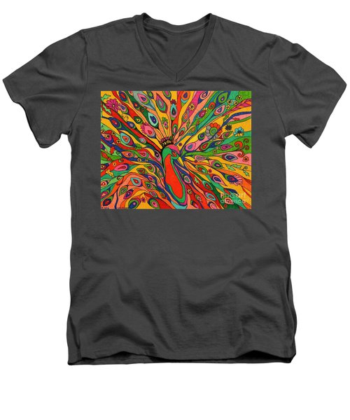 Men's V-Neck T-Shirt featuring the painting That Bloomin Peacock by Alison Caltrider