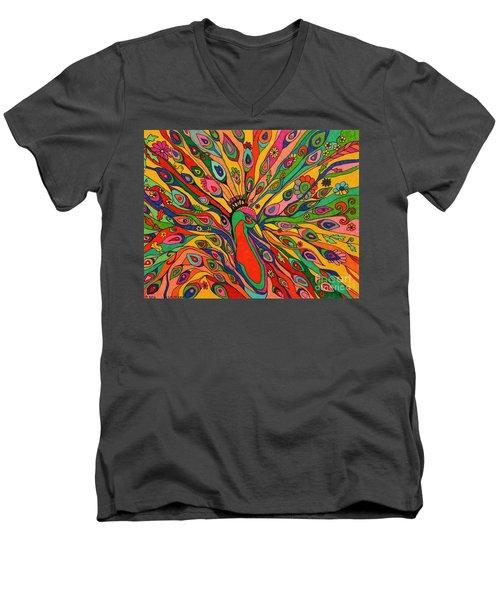 That Bloomin Peacock Men's V-Neck T-Shirt