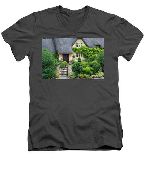 Men's V-Neck T-Shirt featuring the photograph Thatch Roof Cottage Home by Brian Jannsen