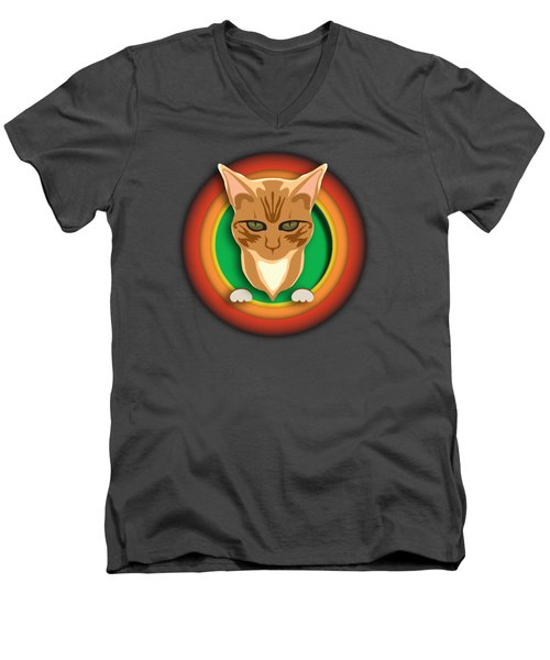 That's All Kitty Men's V-Neck T-Shirt by Stan  Magnan