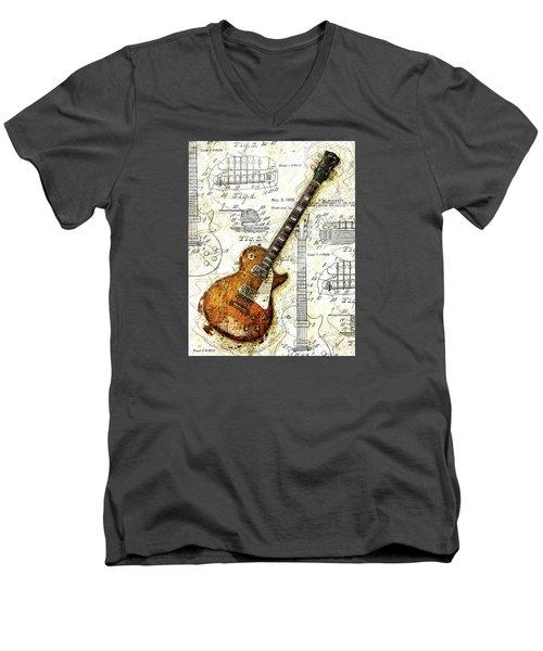 The 1955 Les Paul Custom Men's V-Neck T-Shirt by Gary Bodnar
