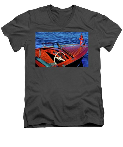 The 1958 Chris Craft Men's V-Neck T-Shirt by David Patterson