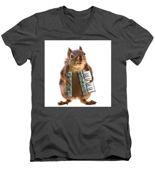 The Accordion Player Men's V-Neck T-Shirt