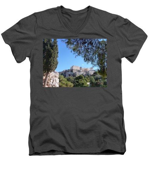 The Acropolis Men's V-Neck T-Shirt by Constance DRESCHER